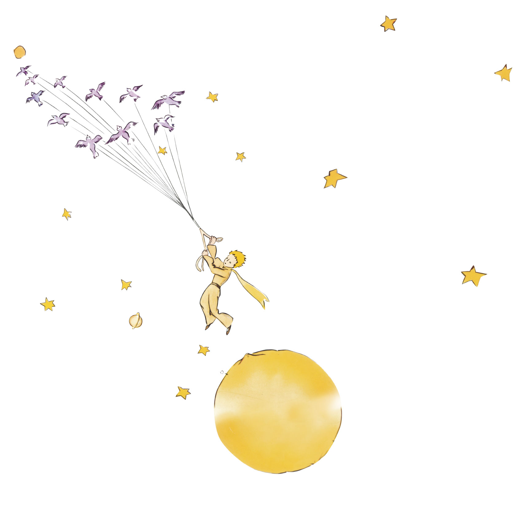 A drawing of Le Petit Prince tethered to a flock of birds, flying amongst the moon and stars