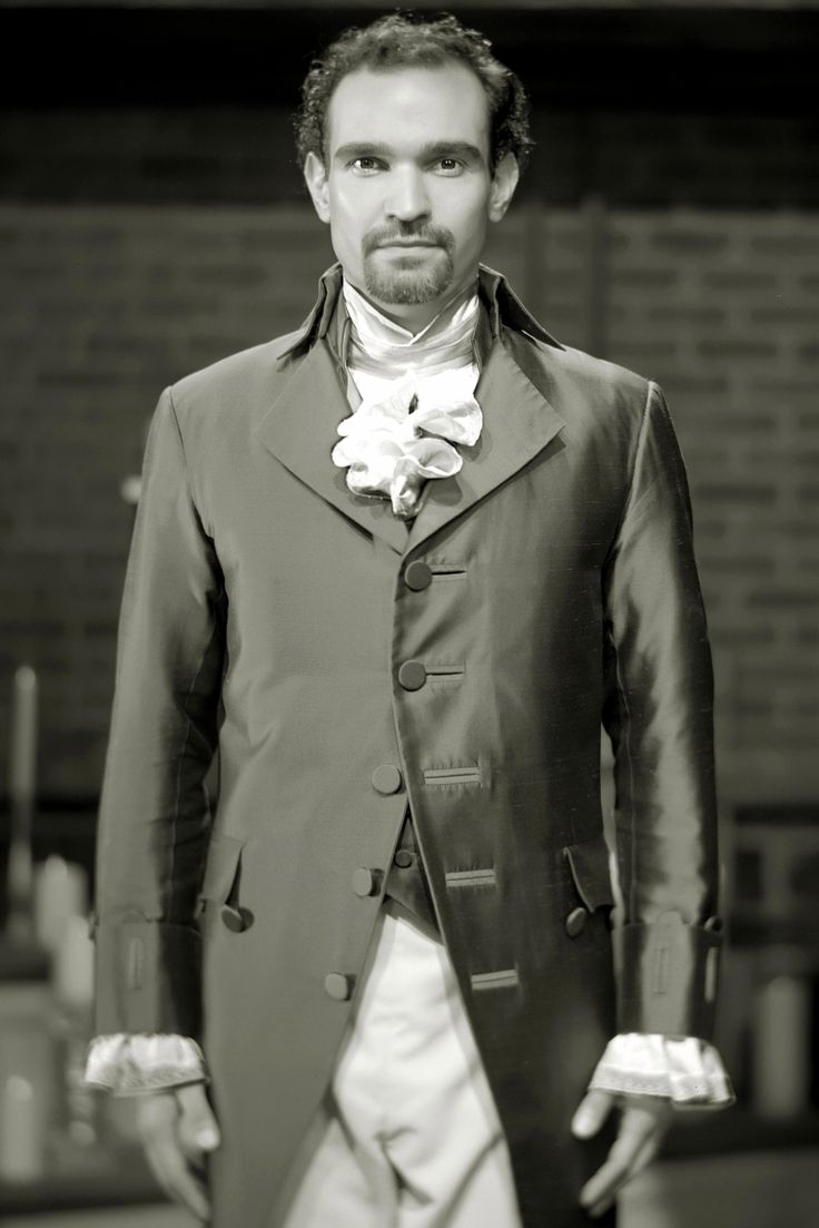 Javier Munoz dressed as Alexander Hamilton in the Broadway musical, Hamilton