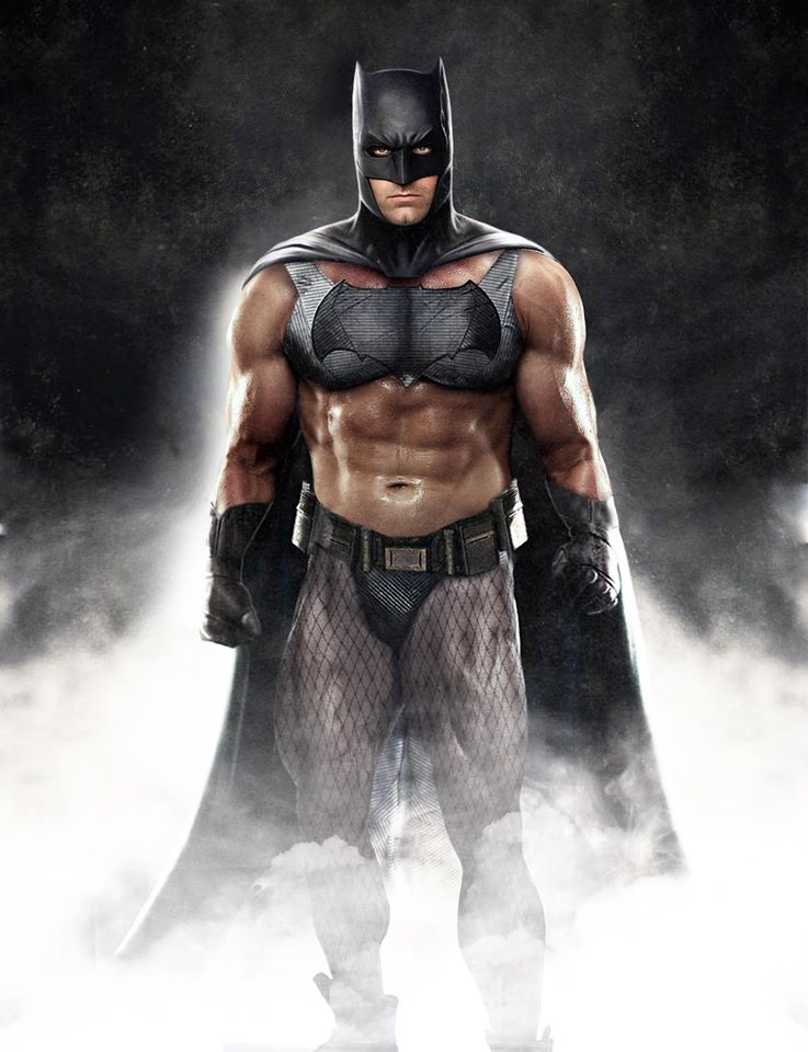 A sexist take on Batman, wearing a sports bra and fishnet stockings alongside his cape and belted thong