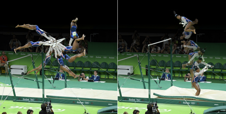 Photo composite of Simone Biles performing an Uneven Bars Dismount during the Olympic games