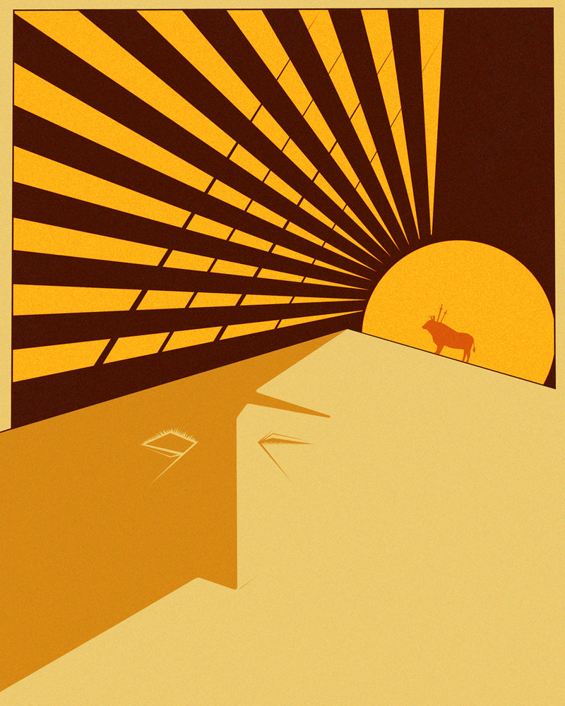 Illustration of a bull on a sand dune, illuminated by th sun