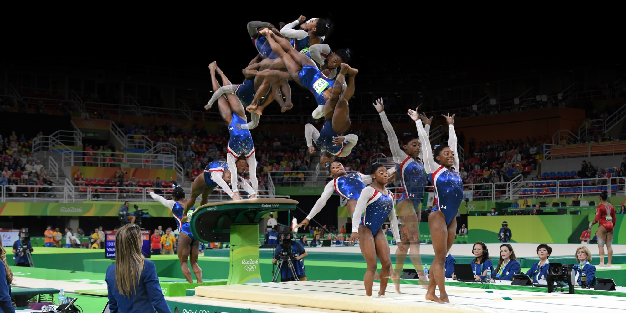 Photo composite of Simone Biles performing an Amanar Vault during the Olympic games