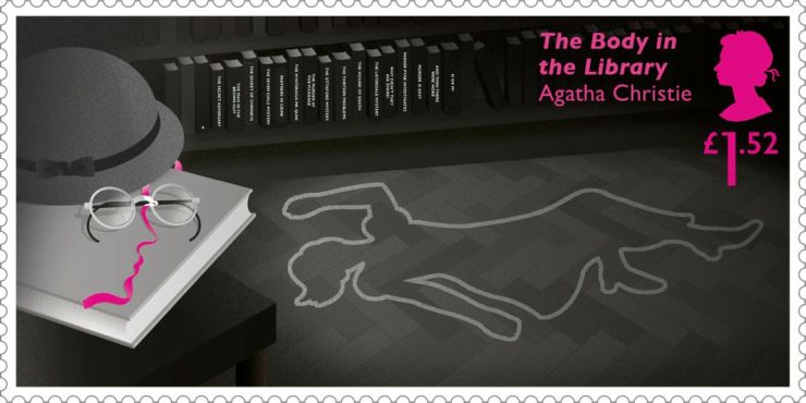 The chalk outline of a woman's body with tomes of books in the background (The Body in the Library novel)