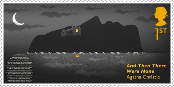 Agatha Christie UK stamp of a house on an island with light from a window reflecting on the sea (And Then There Were None novel)