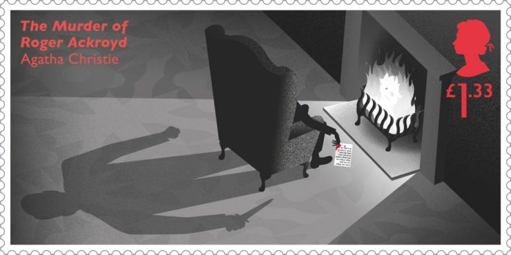 Agatha Christie UK stamp of a shadow man standing behind the chair of a man sitting by the fire with a bloody letter on the floor (The Murder of Roger Ackroyd novel)