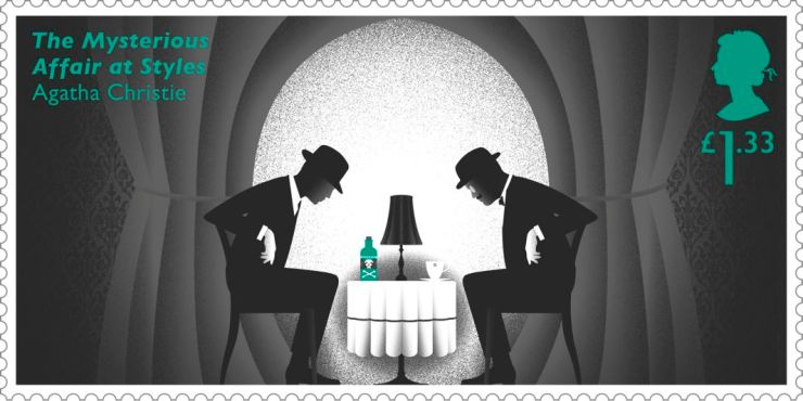 Agatha Christie UK stamp of men at a table gazing at a bottle of poison and a tea cup (The Myserious Affair at Styles novel)